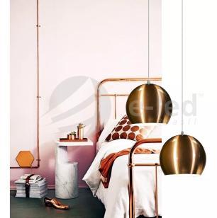 Lustre Pendente Duplo Meia Bola de Aluminio Soq: E27 | Cor:Branco | Tam: 14m | Mod: Conflate Duplo
