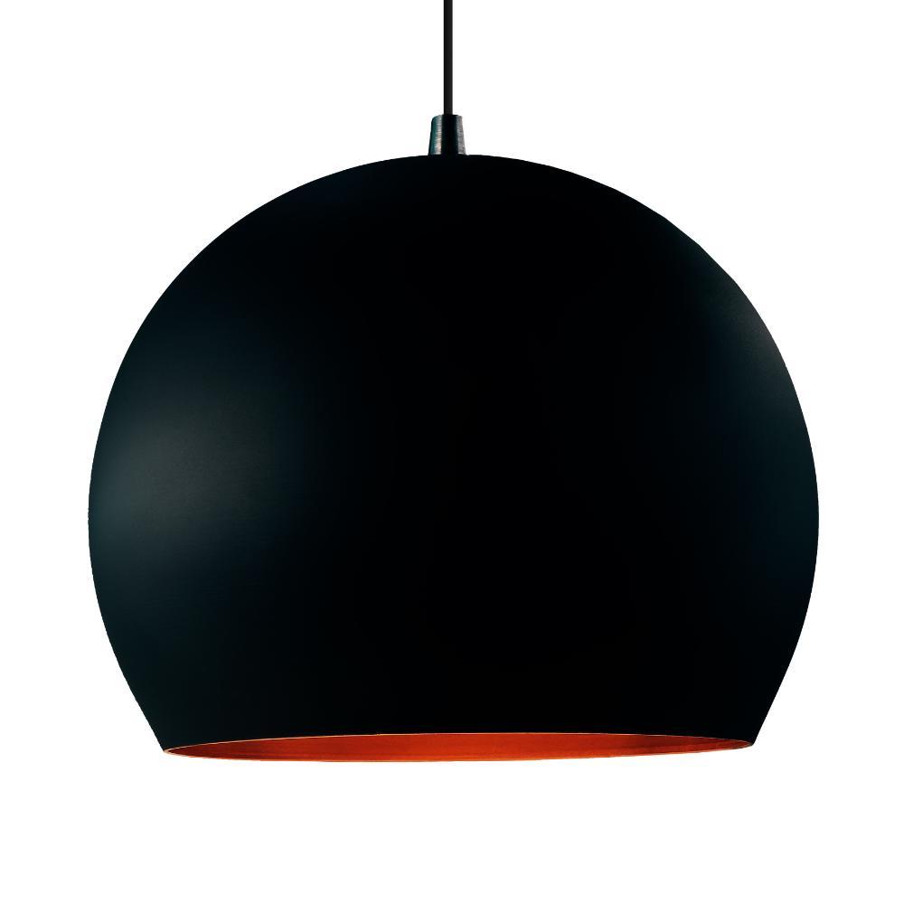 Luminária Pendente Conflate Preta / Cobre de Alumínio - Soq: E27 / Tam: 25x19cm