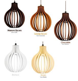 Pendente trio triplo de madeira | Canopla Redonda | 35x24cm | Soq: E-27 | Marfim | Mod: Bali