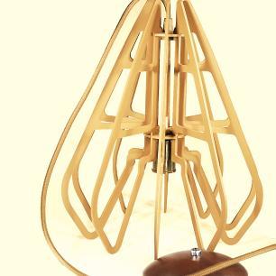 Luminária Pendente Crisálida Caramelo em Madeira  - Soq: E27 / Tam: 29x33cm
