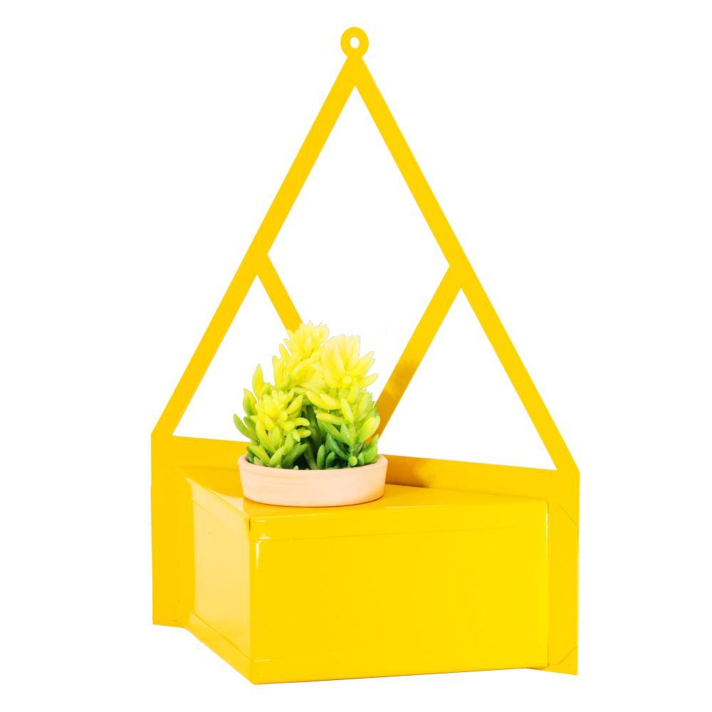 Porta Vaso Triangular de Aço Galvanizado 31cm Amarelo Com Vaso de 6cm