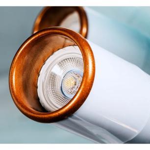 Trilho Eletrificado 1 metro com 4 Spots Branco | Suspenso Cabo de Aço | GU10 2700K | COR: Branco com Cobre | TAM: 1M | MOD: Z4