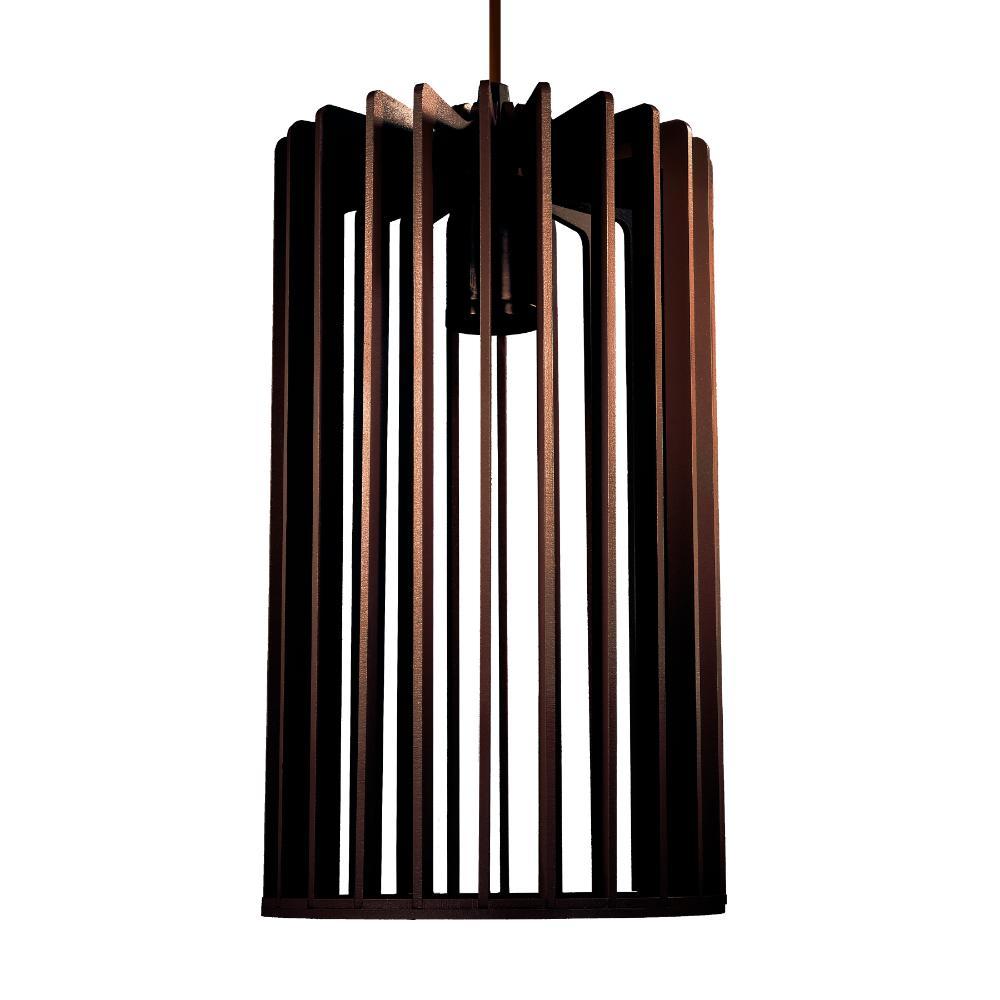 Luminária Pendente Rafaello Marrom Café de Madeira - Soq: E27 / Tam: 16x28cm