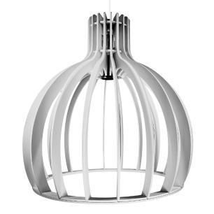 Luminária Pendente Cirkel Cinza em Madeira - Soq: E27 / Tam: 45x45,5cm