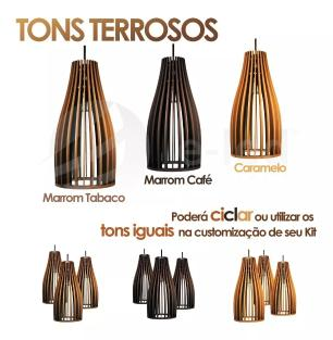 Luminária Pendente Tundell Caramelo em Madeira - Soq: E27 / Tam: 15x29cm