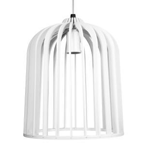 Luminária Pendente Paolo Branco em Madeira - Soq: E27 / Tam: 22x26cm