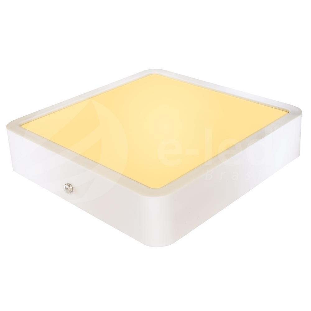 Luminária Plafon Sobrepor de LED Quadrado Branco 18W 2.700K