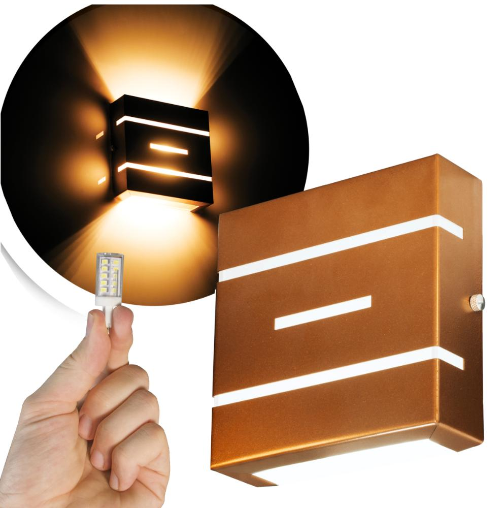 Arandela Frisada Flat Externa c/ LED 5W Incluso | Cor da Luz: 2.700k | Tam: 14x14cm | Cor: Cobre | Soq: G9 | Mod: Flyn