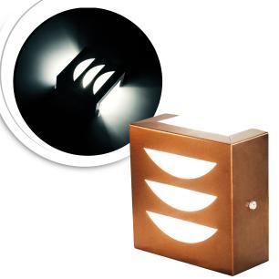 Arandela Externa Com Desenho e 2 Focos Tam: 14x14cm Cor: Cobre Soq: G9 Mod: Dega