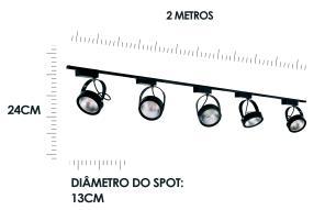 Trilho Eletrificado Preto 2m com 5 Spots AR111 LED Prata 12W L3