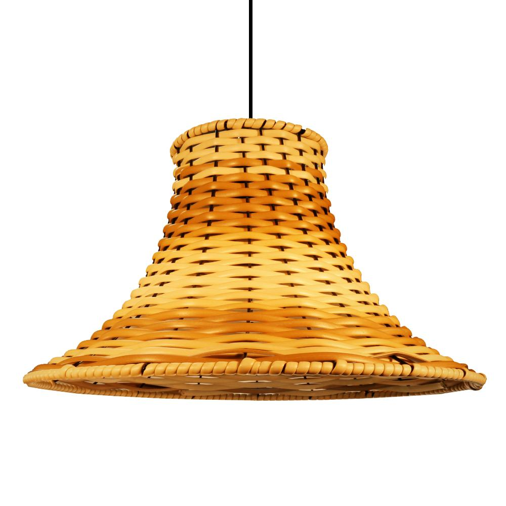 Lustre Pendente Em Junco Chapéu Chinês Luminária Rústica | Cor: Pinus | Tam: 35cm
