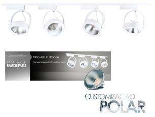 Trilho Eletrificado 3 metros com 4 Spots Prata SOQ: AR111 2700K | COR: Branco com Prata | TAM: 3M | MOD: L3