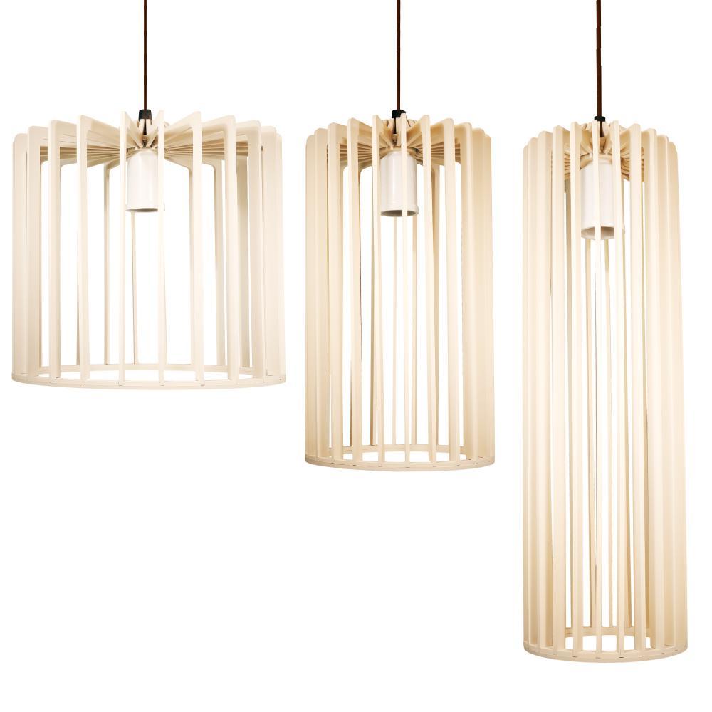 Conjunto Isac Marfim de 3 Luminárias Pendentes De Madeira - Soq: E27