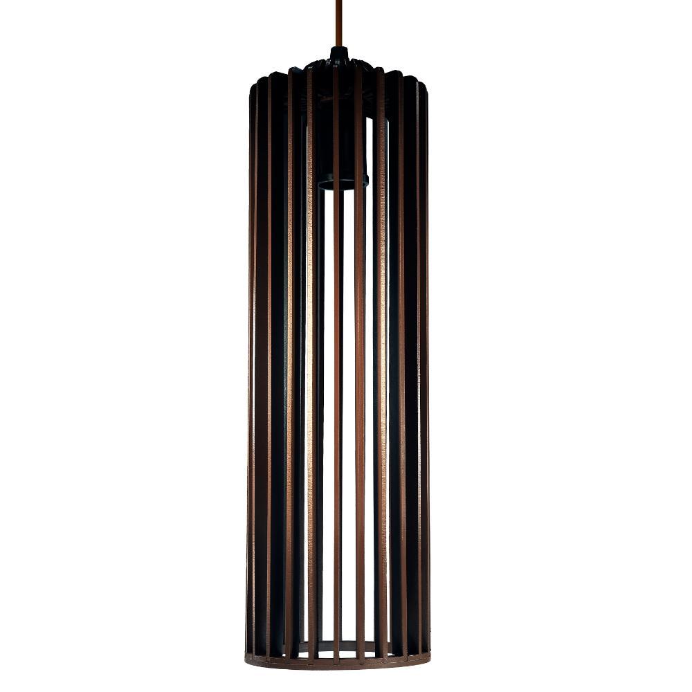 Luminária Pendente Angelico Marrom Tabaco de Madeira - Soq: E27 / Tam: 11x37cm