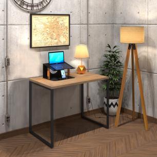 Mesa Para Escritório Diretor Estilo Industrial  Vintage | Tam: 80x60|Cor: Lamina Dourada