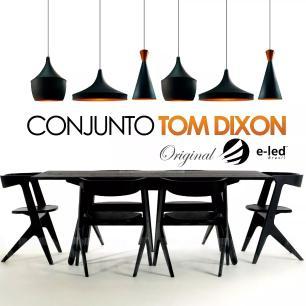 Conjunto Tom Dixon de Alumínio Preto com Cobre- Soq: E27