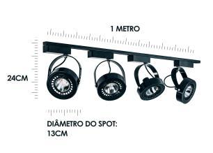 Trilho Eletrificado 1 metro com 4 Spots Preto Soq: AR70 6000K | Cor: Preto com Prata | Mod: L4