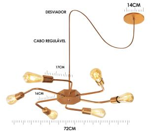 Luminária Sputnik industrial 6 hastes Com Fio Ajustável e Desviador Soq: E27   Cor: Cobre   Tam: 86cm   Mod: Timon Curve