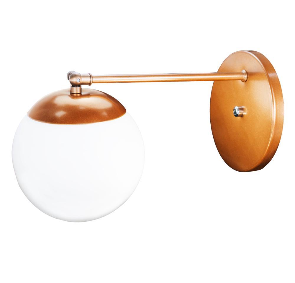 Arandela Buble Industrial com Bola de Vidro Soq: E27 | Cor: Cobre | Tam: 20cm | Mod: Arandela Buble