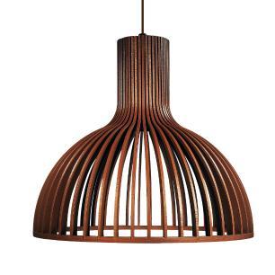 Luminária Pendente de Madeira | Cor: Chocolate | Soq: E-27 | 29x26cm | Mod: Kuma