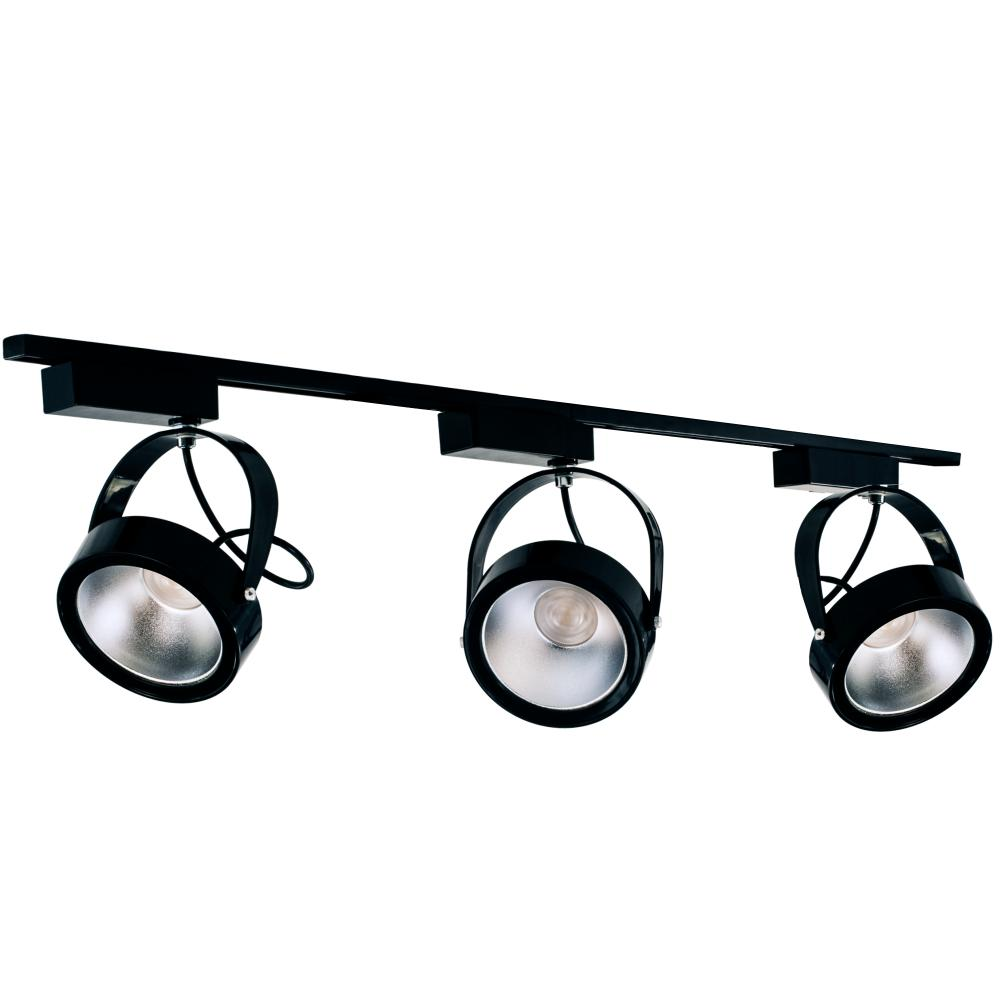 Trilho Eletrificado Triplo de 1 metro com 3 Spots AR111 Preto com Lâmpada LED Prata 12W L3