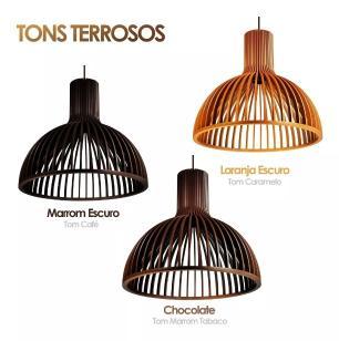 Luminária Pendente Cuma em Madeira | Soq: E27 | Tam: 45cm | Cor: Chocolate