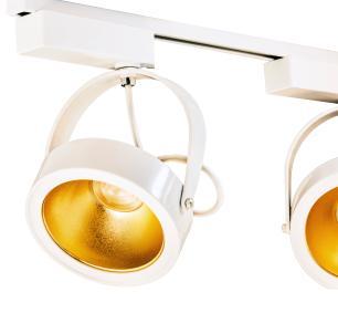 Trilho Eletrificado 1 metro com 4 Spots Branco | Suspenso Cabo de Aço | SOQ: AR111 6000K| COR: Branco com Dourado| TAM: 1M | MOD: L3