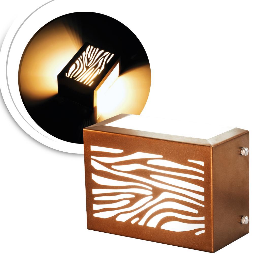Arandela Retangular Externa Cobre Com Desenho Tam: 15x10cm Soq: G9 Mod: Chaly