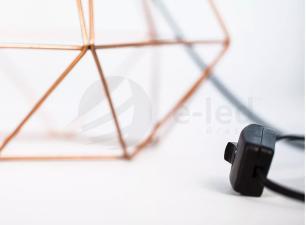 Abajur de Mesa Aramado Diamante Grande Cobre com cúpula Bege
