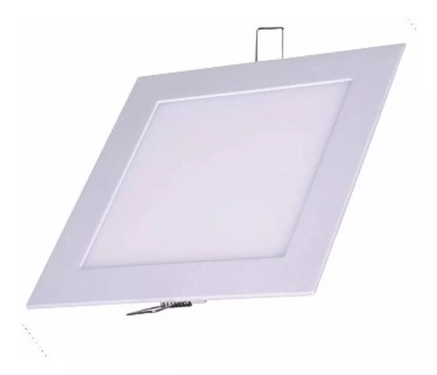 Luminária Plafon de Embutir 11x11cm Branco 6W Super Fino LED Branco Quente