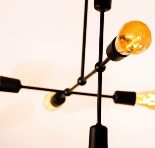 Luminária Sputnik Gun Industrial 6 hastes Assimetrico Soq: E27 | Cor: Preto | Tam: 60cm | Mod: Sputnik Gun