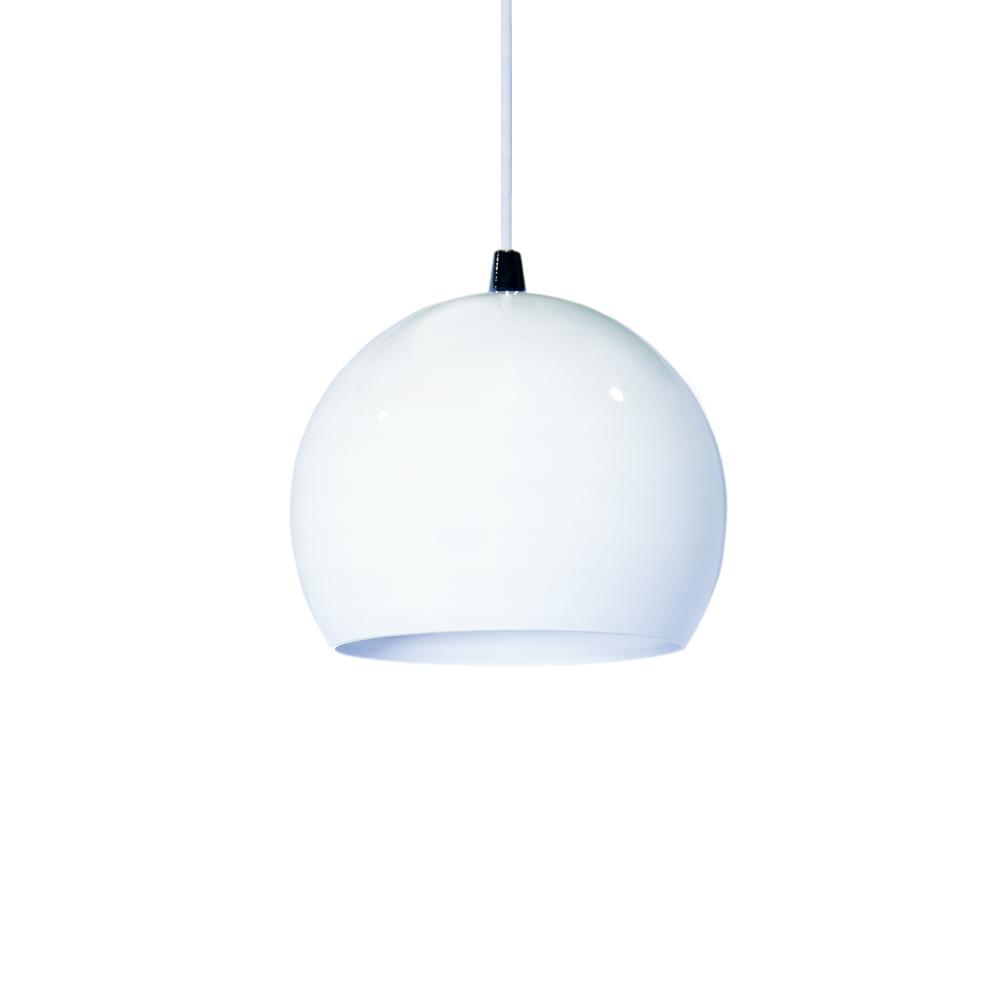Luminária Pendente Meia Bola Conflate Branco de Alumínio - Soq: E27 / Tam: 14x13cm