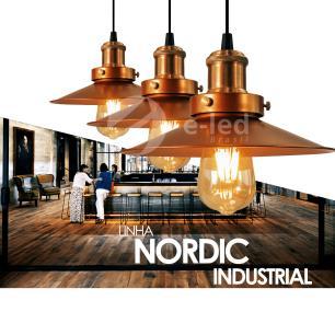 Pendente Chapéu Nordic Duplo Cobre Industrial - Soq: E27 / Tam: 22x12cm