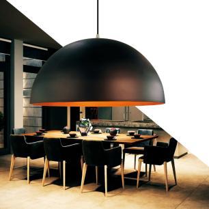 Luminária Pendente Meia Lua Preta / Cobre de Alumínio - Soq: E27 / Tam: 40x20cm