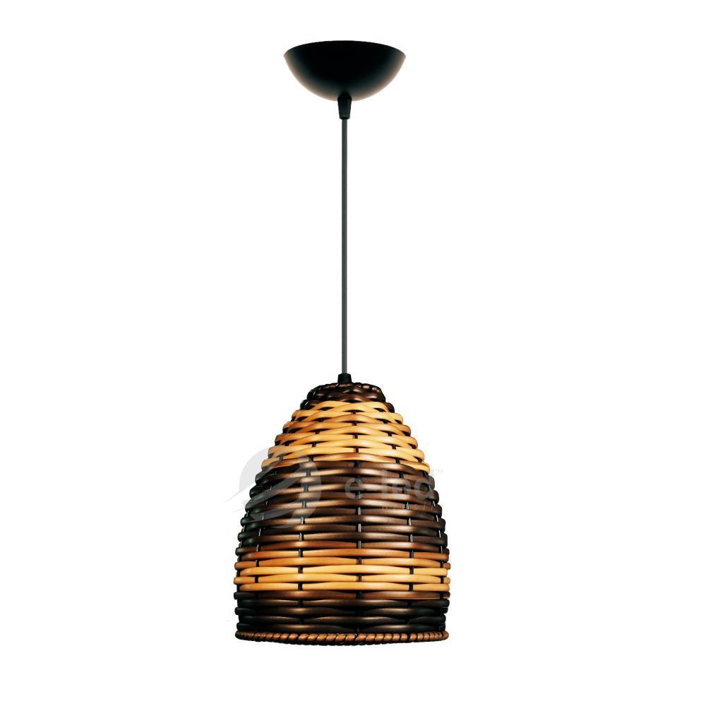 Lustre Pendente de Junco Taça Luminária Rústica | Cor: Capuccino | Tam: 18x16cm