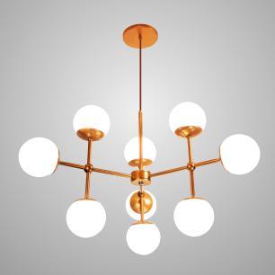Luminária Sputnik Platon Industrial 3 hastes 9 bolas de Vidro Com Fio Ajustável Soq: G9 | Cor: Cobre| Tam: 60cm | Mod: Sputnik Platon