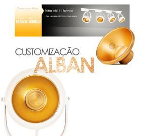 Trilho Eletrificado 1 metro com 4 Spots Branco | Suspenso Cabo de Aço | SOQ: AR111 2700K| COR: Branco com Dourado| TAM: 1M | MOD: L3