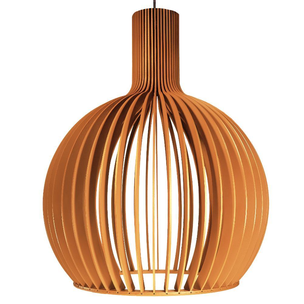 Luminária Pendente Octo Bellatrix Caramelo em Madeira - Soq: E27 / Tam: 60x76cm
