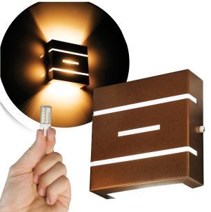 Arandela Frisada Flat Externa c/ LED 5W Incluso   Cor da Luz: 2.700k   Tam: 14x14cm   Cor: Marrom   Soq: G9   Mod: Flyn