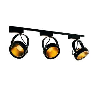 Trilho Eletrificado 1 metro com 3 Spots AR111 Preto com Lâmpada LED Dourada 12W L3