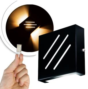 Arandela Frisada Flat Externa c/ LED 5W Incluso | Cor da Luz: 2.700k | Tam: 14x14cm | Cor: Preto | Soq: G9 | Mod: Wolverine