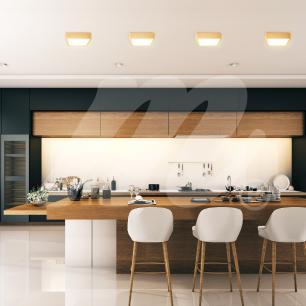 Luminária Plafon Sobrepor de Madeira Quadrado Marfim 18W LED 2.700k