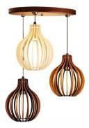 Pendente trio triplo de madeira | Canopla Redonda | 21x18cm | Soq: E-27 | Cores Mescladas C | Mod: Bali