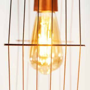 Luminária Steampunk Hexa Plate industrial Vertical Soq: E27 | Cor: Cobre | Tam: 30cm | Mod: Steampunk