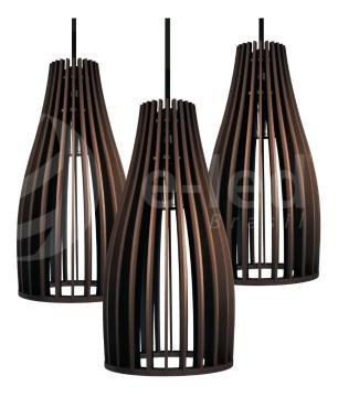 Luminária Pendente Tundell Marrom Café em Madeira - Soq: E27 / Tam: 15x29cm
