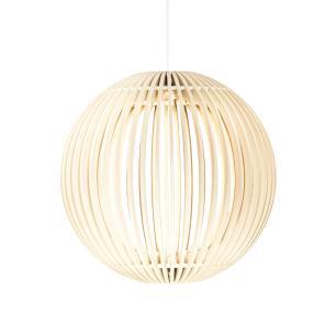 Luminária Pendente Pólux Branca de Madeira - LED 964 Lúmens / Tam: 20cm / Luz: 2.700K