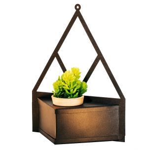 Porta Vaso Triangular de Aço Galvanizado 31cm Marrom Com Vaso de 6cm
