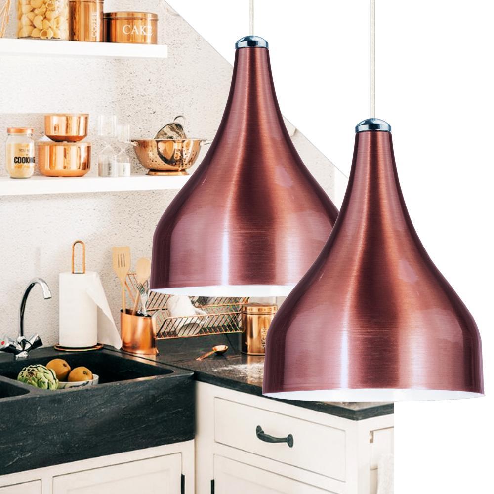Luminária Pendente Gota Vermelho de Alumínio - Soq: E27 | Tam: 18x15cm | Mod: Metty