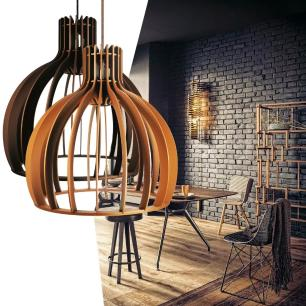 Luminária Pendente Cirkel Marrom Café em Madeira - Soq: E27 / Tam: 35x35,5cm