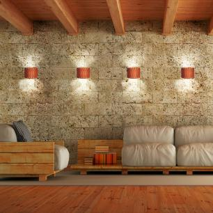 Arandela de Madeira Agnes Marrom Tabaco com LED 420 Lúmens / Tam: 20x15cm / Luz: 5.000K